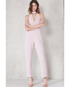 Mauve Keyhole High Neck Deep Plunge Jumpsuit