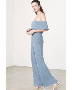Bandeau Jumpsuit in Dusty Blue Knit