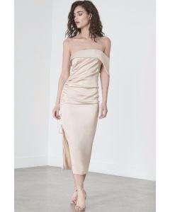 Off the Shoulder Drawcord Dress in Mink Satin